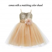 Gold Shawl Sequin Tulle Flower Girl Dress Special Events 1508NF