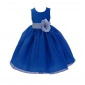 Royal Blue/Bluebird Satin Bodice Organza Skirt Flower Girl Dress Birthday 841S