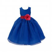 Royal Blue/watermelon Satin Bodice Organza Skirt Flower Girl Dress Birthday 841S