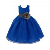 Royal Blue/Mercury Grey Satin Bodice Organza Skirt Flower Girl Dress Birthday 841S