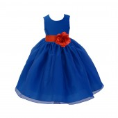 Royal Blue/Persimmon Satin Bodice Organza Skirt Flower Girl Dress Birthday 841S