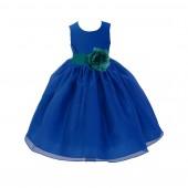 Royal Blue/Oasis Satin Bodice Organza Skirt Flower Girl Dress Birthday 841S