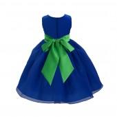 Royal Blue/Kelly Lime Green Satin Bodice Organza Skirt Flower Girl Dress Birthday 841S