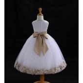White/Champagne Tulle Rose Petals Flower Girl Dress Wedding 302S