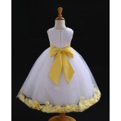 White/Canary Tulle Rose Petals Flower Girl Dress Wedding 302S