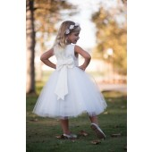 Ivory/Ivory Rosebuds Satin Tulle Flower Girl Dress Events 815T