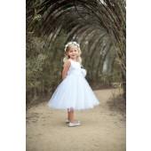 White/White Rosebuds Satin Tulle Flower Girl Dress Events 815T