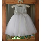Silver/White/Silver Glitter Sequin Tulle Flower Girl Dress Recital Ceremony 123S