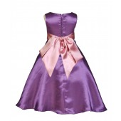 Purple/Dusty Rose A-Line Satin Flower Girl Dress Party Recital 821S