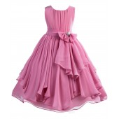 Dusty Rose Yoryu Chiffon Ruched Bodice Rhinestone Flower Girl Dress 162S