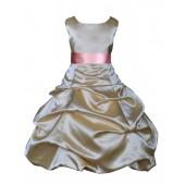 Gold/Dusty Rose Satin Pick-Up Bubble Flower Girl Dress Dazzling 806S