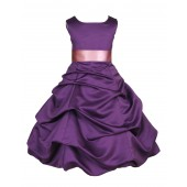 Purple/Dusty Rose Satin Pick-Up Bubble Flower Girl Dress Easter 806S