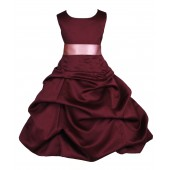 Burgundy/Dusty Rose Satin Pick-Up Bubble Flower Girl Dress Event 806S