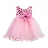 Dusty Rose Glitter Sequin Tulle Flower Girl Dress Formal Princess B-011NF