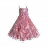 Dusty Rose Shimmering Organza Rhinestones Flower Girl Dress Formal J120NF