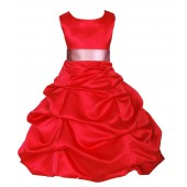 Red/Dusty Rose Satin Pick-Up Bubble Flower Girl Dress Christmas 806S