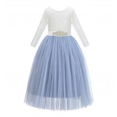 Dusty Blue A-Line V-Back Lace Flower Girl Dress with Sleeves 290R