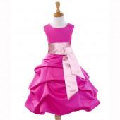 Fuchsia/Dusty Rose Satin Pick-Up Bubble Flower Girl Dress V2 806S