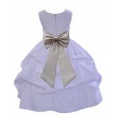 White/Champagne Satin Pick-Up Flower Girl Dress Wedding 208T