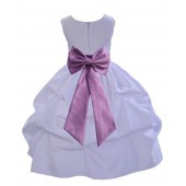 White/Wisteria Satin Pick-Up Flower Girl Dress Wedding 208T