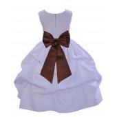 White/Brown Satin Pick-Up Flower Girl Dress Wedding 208T