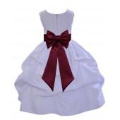 White/Burgundy Satin Pick-Up Flower Girl Dress Wedding 208T