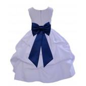 White/Navy Blue Satin Pick-Up Flower Girl Dress Wedding 208T