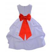 White/Red Satin Pick-Up Flower Girl Dress Wedding 208T