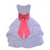 White/Watermelon Satin Pick-Up Flower Girl Dress Wedding 208T