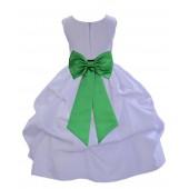 White/Lime Satin Pick-Up Flower Girl Dress Wedding 208T