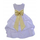 White/Canary Satin Pick-Up Flower Girl Dress Wedding 208T