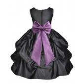 Black/Wisteria Satin Pick-Up Flower Girl Dress Formal 208T