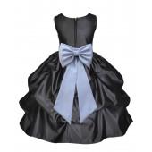 Black/Silver Satin Pick-Up Flower Girl Dress Formal 208T