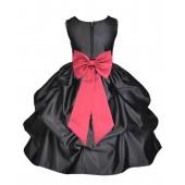 Black/Watermelon Satin Pick-Up Flower Girl Dress Formal 208T
