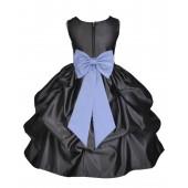 Black/Bluebird Satin Pick-Up Flower Girl Dress Formal 208T