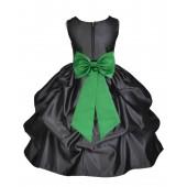 Black/Lime Satin Pick-Up Flower Girl Dress Formal 208T