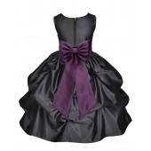 Black/Plum Satin Pick-Up Flower Girl Dress Formal 208T