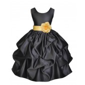 Black/Canary Satin Pick-Up Flower Girl Dress Formal 208T
