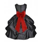 Black/Persimmon Satin Pick-Up Flower Girl Dress Formal 208T