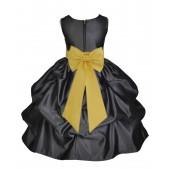 Black/Sunbeam Satin Pick-Up Flower Girl Dress Formal 208T