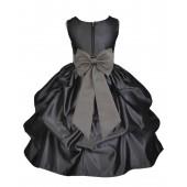 Black/Mercury Satin Pick-Up Flower Girl Dress Formal 208T