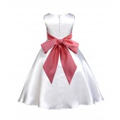 White/Guava A-Line Satin Flower Girl Dress Wedding Bridal 821S