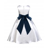 White/Peacock A-Line Satin Flower Girl Dress Wedding Bridal 821S