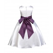 White/Plum A-Line Satin Flower Girl Dress Wedding Bridal 821S