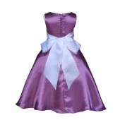 Purple/White A-Line Satin Flower Girl Dress Party Recital 821S