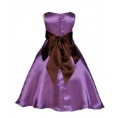 Purple/Brown A-Line Satin Flower Girl Dress Party Recital 821S