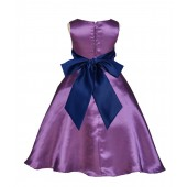 Purple/Navy A-Line Satin Flower Girl Dress Party Recital 821S
