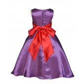 Purple/Red A-Line Satin Flower Girl Dress Party Recital 821S