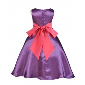 Purple/Watermelon A-Line Satin Flower Girl Dress Party Recital 821S