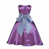 Purple/Bluebird A-Line Satin Flower Girl Dress Party Recital 821S